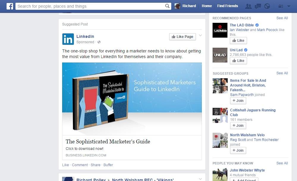 LinkedIn facebook sponsored post